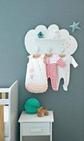 Ceebebek Ahşap İkea Duvar Raf Bebek Çocuk Odası Dekor Montessori Bulut Askı