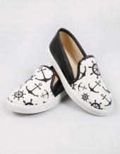 Siyah Denizci Figür Sneakers Kadın Ayakkabı
