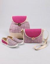 Desenli Kumaş Üçlü Bayan Ayakkabı Çanta Kombin