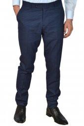 Erkek Kumaş Pantolon Kareli Slim Fit Rar00311 Lacivert