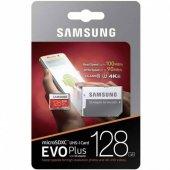 Samsung 128gb Evo Plus Micro Sd Hafıza Kartı C10 U3 4k 100mb S