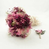 Fuşya Kuru Gelin Buketi Gelin Çiçeği Damat Yaka Çiçeği Hediyeli
