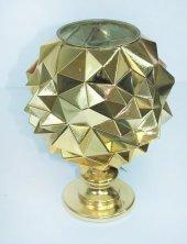 Cam Dekoratif Kabartmalı Altın Renk Süslü Ev Eşyası 30 Cm