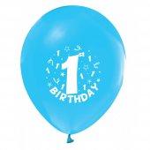100 Adet Kikajoy 1 Yaş Baskılı Açık Mavi Balon