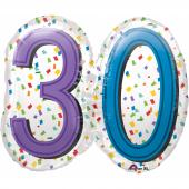 1 Adet Kikajoy 30 Yaş Temalı Renkli Folyo Balon 63x55