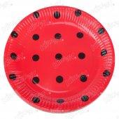 16 Adet Kikajoy Kırmızı Üzeri Siyah Puanlı Karton Tabak
