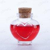 144 Adet Kikajoy Kalp Şekilli Kapaklı Cam Esans Şişesi 40cc