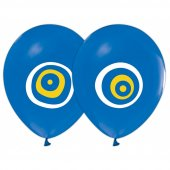 100 Adet Nazar Boncuğu Baskılı Mavi Balon + Balon Pompası