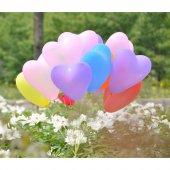 100 Adet Kalp Şekilli Karışık Latex Balon + Balon Pompası
