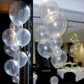 100 Adet Baskısız Şeffaf Balon + Balon Pompası...