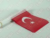 100 Ad. Sopalı(Plastikçıtalı) Türk Bayrağı 12.5cmx22.5cm