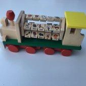 Eğitici Ahşap Tren Harfleri Rakamları Nesneleri Öğreten Oyuncak Seti