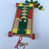 Eğitici Ahşap Geometrik Şekiller Bultak Puzzle Oyunu Timsah Şekilli Çekmeli Araba 48 Parça