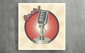 Retro Radyo Mikrofonu Kanvas Tablo