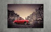 Retro Kırmızı Araba Kanvas Tablo