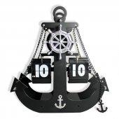 Denizci Çapa Çarklı Flip Yapraklı Çevirmeli Metal Masa Saati Ak42