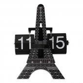 Paris Eyfel Kulesi Yapraklı Çevirmeli Siyah Metal Flip Masa Saati