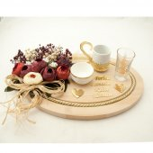 Damat Kahve Fincanı Ahşap İsme Özel Oval Altın 4 Renk Seçeneği