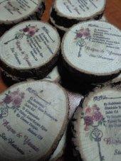 Odun Baskılı Nişan Kına Düğün Hediyelik Dilim 1 Se...