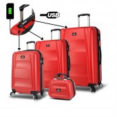 My Valice Smart Bag Exclusive Usb Şarj Girişli 4lü Valiz Seti (Travel Set) Kırmızı