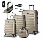 My Valice Smart Bag Colors Usb Şarj Girişli 4lü Valiz Seti (Travel Set) Gold