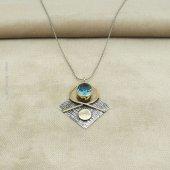 Bayan Otantik Safir Taşlı Gümüş Kolye