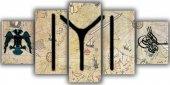 Kayı Boyu Sancağı Beş Parça Kanvas Tablo