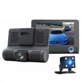 3 Kameralı Geniş Ekran İçi Dış Ve Park Kameralı Araç Kamera
