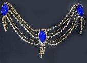 Kına Elbisesi Bindallı Mavi Kristal Taşlı Alınlık