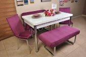 Taytüyü Kumaş Açılır Kelebek Masa Banklı Mutfak Masa Sandalye