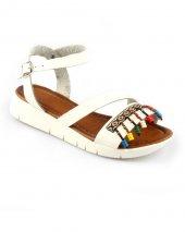 Beyaz Renk Bilek Bağlı Renkli Boncuk Tasarım Bayan Sandalet