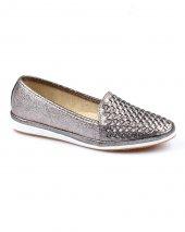 Platin Renk Örgü Desenli Bayan Günlük Ayakkabı