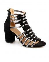 Siyah Kafes Tasarım Kalın Topuk Bayan Platform Ayakkabı