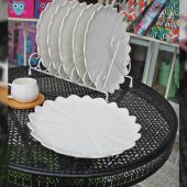 6lı Porselen Beyaz Renk Papatya Model Servis Tabağı 26 Cm