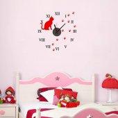 Kedi Tasarımlı Duvara Yapışan Saat