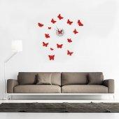 Kelebek Tasarımlı Duvara Yapışan Saat
