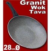 Granit Vog Tava,28cm Alüminyum Üze Tavari Granit Wok Tava,6cm Der