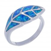 925 Ayar Gümüş Opal Taşlı Yaprak Yüzük