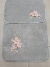 Banyo Paspas Takımı Klozet Takımı 3d Nakışlı Çiçekli Gri