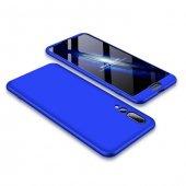 Huawei P20 Pro 360 Mavi Full Koruma Kılıf Arka Koruyucu Kapak