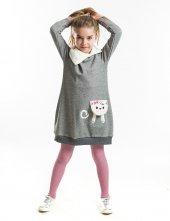 Denokids Şal Yaka Kedi Cepli Kız Çocuk Elbise