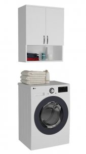 Kenzlife Çamaşır Makinesi Dolabı 3 Raflı Kapaklı Simge Beyaz
