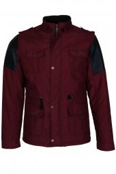 Erkek Kaban Mont Slim Fit Bordo Rar00340