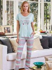 Eros 21580 Kadın V Yaka Turkuaz Pijama Takımı