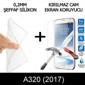 Samsung A320 Ultra İnce Şeffaf Silikon Kılıf + Temperli Cam