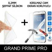 Samsung Grand Prime Pro Ultra İnce Şeffaf Silikon Kılıf + Temperli Cam
