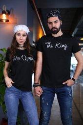 King Queen Tişört Sevgili Kombini T Shirt Siyah Tshirt