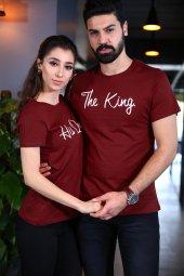 King Queen Tişört Sevgili Kombini T Shirt Bordo Tshirt