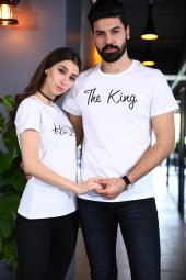 King Queen Tişört Sevgili Kombini T Shirt Beyaz Tshirt