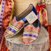 Motifli Çok Renkli Mavi Deri Bayan Erkek Yemeni Günlük Ayakkabı